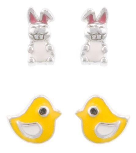 Sterling Silver Enamel Bunny Stud and Enamel Yellow Chick Stud Earrings Set