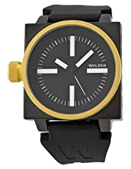 Men's Stainless Steel Gold Plated Black Dial White Index 45mm