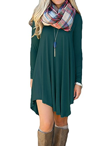 IGENJUN Women's Long Sleeve V-Neck Casual Loose T-Shirt Dress (XL, Petrol)