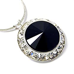 Framed Black Crystal Pendant Necklace Made with Swarovski Elements