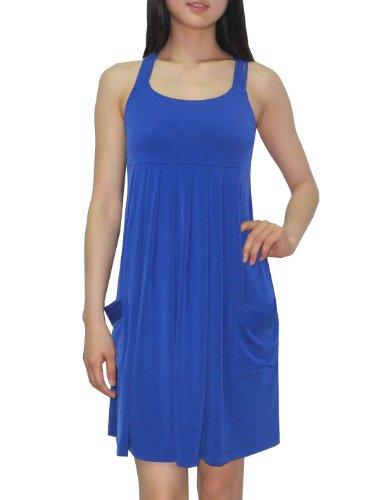Calvin Klein Womens Scoop Neck Summer Casual Tank Dress 8/M Blue