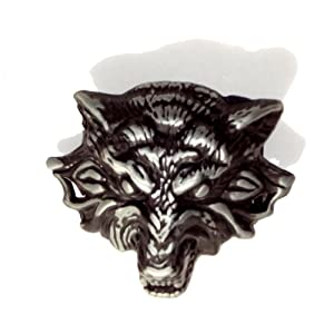 Growling Werewolf Timber Wolf Brushed Nickel Belt Buckle Unisex