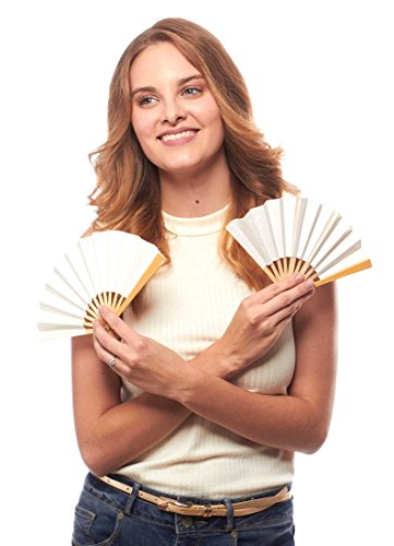 Perfectly Petite Paper and Bamboo Folding Fan, Set of 5