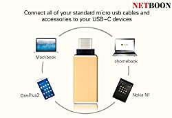 NETBOON® 100% Genuine High Quality Metal High-Speed Ultra-thin USB 3.1 Type-C Male OTG to USB 3.0 Female for Nexus 5x, Nexus 6p,Lumia 950XL,Letv le 1s,Smartphones and other Type-C OTG Supported Device - [Color As Per Available in Stock]