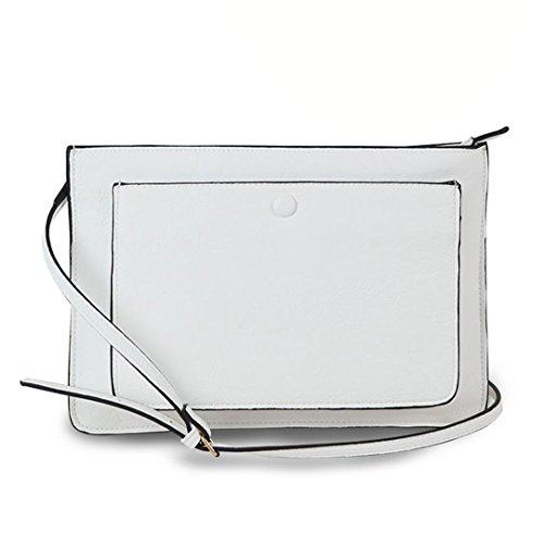 Diophy PU Leather iPad Tablet Protective Sleeves Front Pockets Womens Fashion Clutch Bags Handbag Purse JX-373 (White)