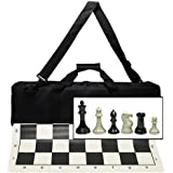 "Ultimate Tournament Chess Set with New Silicone Chess Mat, Canvas Bag and Super Triple Weighted Chessmen with 4"" King"