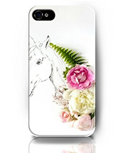 Ukase Cases For Iphone 5 5S With Flowers And Painting Art Theme Of Flower And Horse