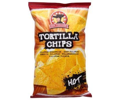Feurig scharfe Tortilla Chips Hot mit Chili-Geschmack in der 200g Packung Don Fernando