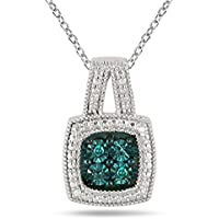 Genuine Blue Diamond Halo Pendant in .925