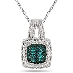 Genuine Blue Diamond Halo Pendant in .925
