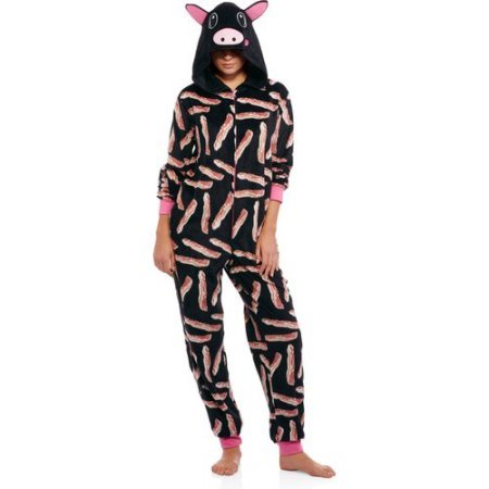 [Body Candy Juniors Microfleece Sleepwear Adult Onesie Costume Union Suit Pajama with Critter Hood(Black Bacon/Pig)Size:] (Bacon Suit Adult Costumes)