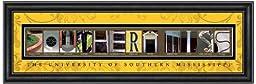 Prints Charming Letter Art Framed Print, U of Southern Mississippi-Southern Miss, Bold Color Border