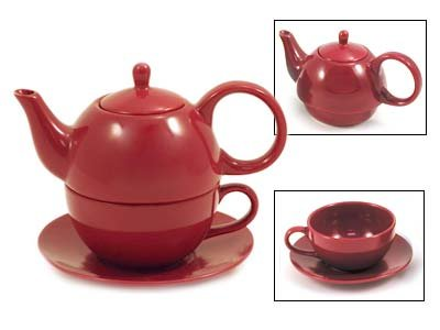 Tea for One Burgundy Gloss Finish - EnglishTeaStore Brand (Single Serving Teapot compare prices)