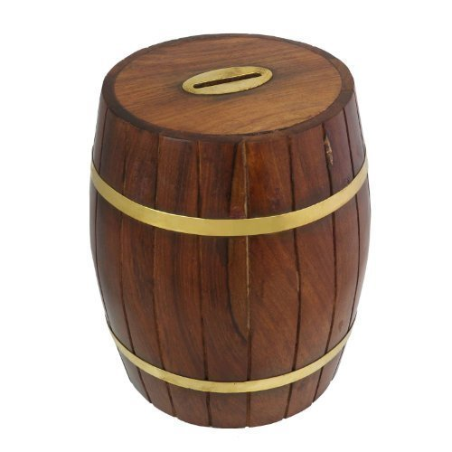 Wooden Money Box Piggy Bank in Barrel Shape Fine Polished Seeshum Wood Height-5 Inches