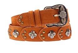 Herebuy - Vintage Leather Belts for Women Western Cowgirl Rhinestone Belts (Khaki)