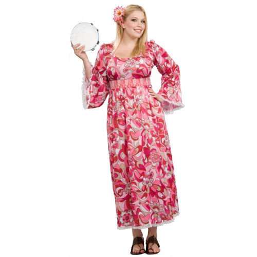 Plus Size Hippie Flower Child Costume Dress (Dress Only)