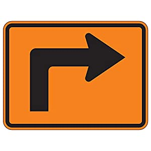MUTCD W16-6rpo - Advance Arrow (Plaque) Orange Sign, 3M Reflective Sheeting, Highest Gauge Aluminum,Laminated, UV Protected, Made in U.S.A