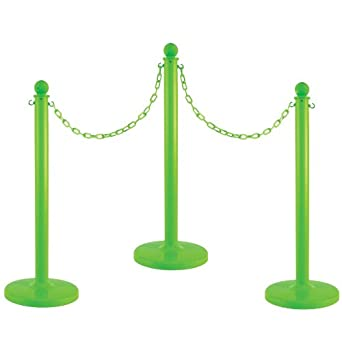 Mr. Chain Plastic Stanchion Kit with 50' of Chain and C-Hook (Packs of 6)