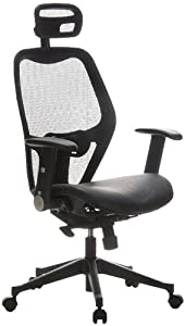 Buerostuhl24 653010 Air Port Executive Chair Leather / Mesh, Black       Customer review and more news