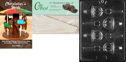 Cybrtrayd 'Pacifier Pop' Adult Chocolate Candy Mold With 25 4.5-Inch Lollipop Sticks And Chocolatier'S Guide front-1053877