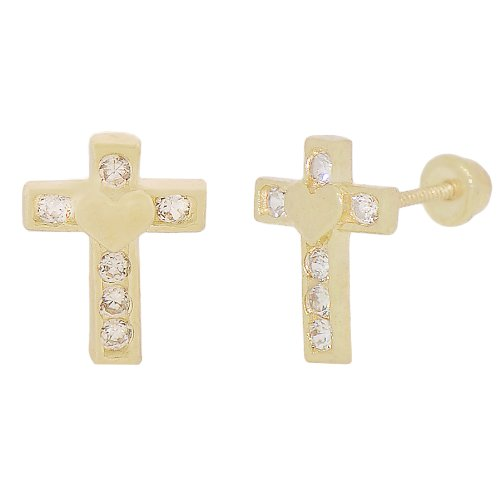 14k Yellow Gold, Mini Cross with Heart Design Religious Stud Screw Back Earring Lab Created Gems