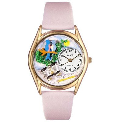 Whimsical Watches Kids' C0150012 Classic Gold Bird Watching Yellow Leather And Goldtone Watch