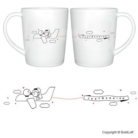 "Boldloft® ""Just Married"" His & Hers Coffee Mugs-Wedding Gifts,Wedding Gifts For Couple,Wedding Gifts For Bride And Groom,Bridal Shower Gifts,Engagement Gifts For Couples"