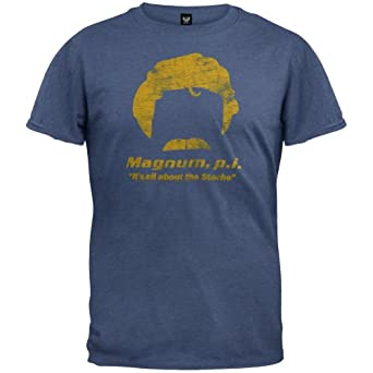 Magnum, P.I. - Mens Its All About The Stache T-shirt - Small Dark Blue