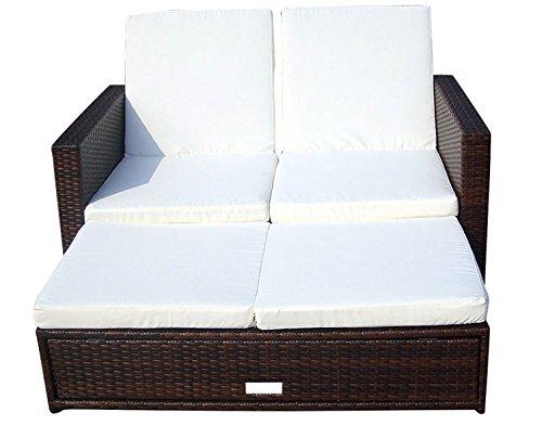 Baidani Gartenmöbel-Sets 10c00008.00002 Designer Rattan Doppelliege Harmony, Sofa, Fußbank mit integrierter Kissenbox und passenden Auflagen, braun online kaufen