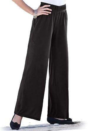 Roamans Women's Plus Size Soft Knit Wide Leg Pants at Amazon Women's