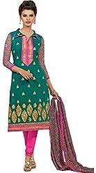 TFW Green Color Unstitched Salwar Kameez Dress Material
