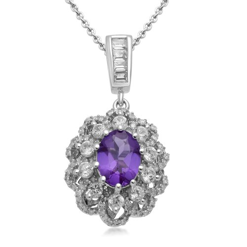 Sterling Silver Oval Amethyst with Created White Sapphire Accents Diamond Flower Pendant Necklace, 18