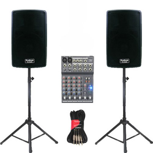 "Podium Pro 1 Pair New Karaoke Pa Band 10"" Pro Audio Powered Active Speakers, Mixer, Stands And Cables Dj Set Pp1002Aset2 front-180288"
