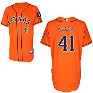 Max Stassi Houston Astros Alternate Orange Authentic Cool Base Jersey by Majestic by Majestic
