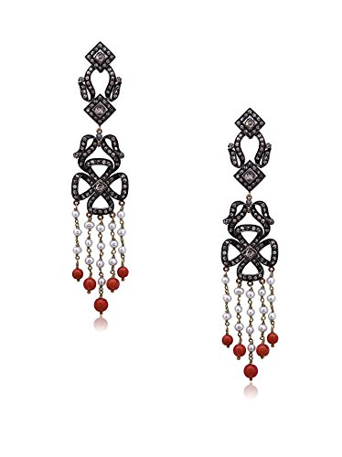 Socheec Floral Diamond, Coral & Pearl Tassel Earrings