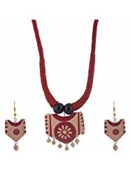 ARTOPIAA Terracotta Jewellery Set ART_037 For Women ( Red )