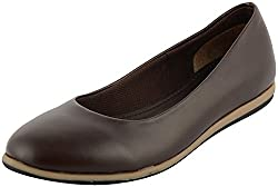 Richiee Girls Brown Synthetic Ballerina (1501-102Brown_38, Size - 38)