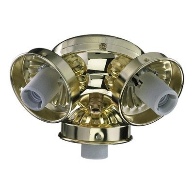 Three Light Ceiling Fan Light Kit Bulb Type: Incandescent, Finish: Polished Brass