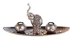 Metallic color Wooden TeaLight Candle Holders with Decorative Stones, 1 Elephant and 3 Real Wax Candles Gift Home Decor Valentine