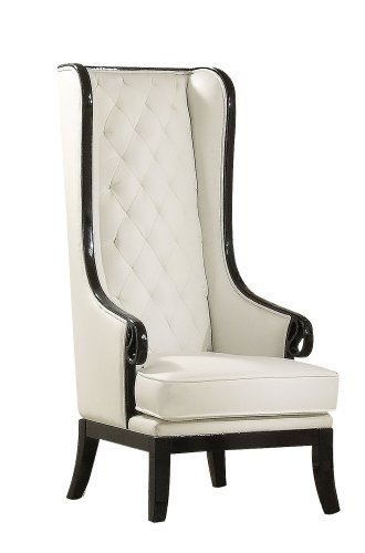 Price reviews acme 59128 parr accent chair black and white finish