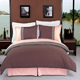 sheetsnthings 4PC Full Size bedding set Including Embroidered Astrid Taupe with Beige 3pcs Duvet cover set+ 1PC Down Alternative comforter at Sears.com
