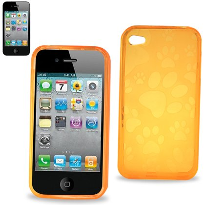 Polymer Protector Crystal Soft Gel Skin Cover Cell Phone Case With Screen Protector For Apple Iphone 4 16Gb 32Gb At&T - Orange