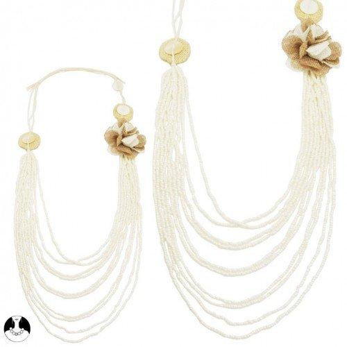 sg paris women necklace long necklace 8 rows 70/105cm comb beige glass