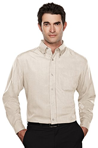 Tri-Mountain Mens Rayon/Poly Long Sleeve Shirt With Mini-Houndstooth Pattern. 860 - Ecru_M front-680017