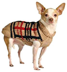 Chilly Dog Tan Plaid Dog Sweater, XX-Large
