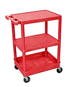 Luxor Rdstc221Rd 3 Shelf Red Tub Cart With