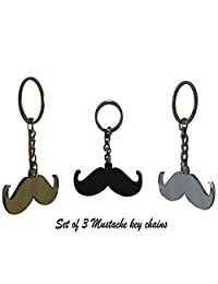 Valentine Special Gift Set Of 3 Mustache Key Rings Chains