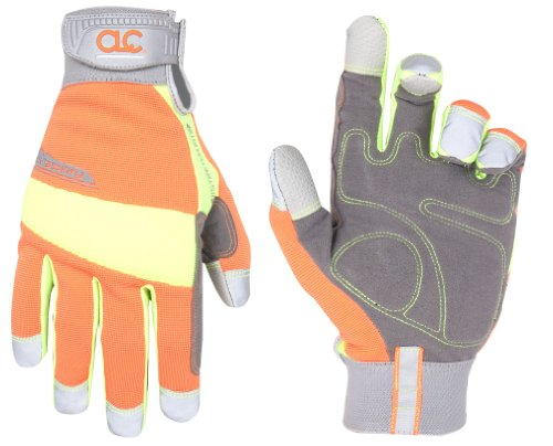 Custom Leathercraft Safety Tradesman High Visibility Glove-MED HIVISIBILITY GLOVE