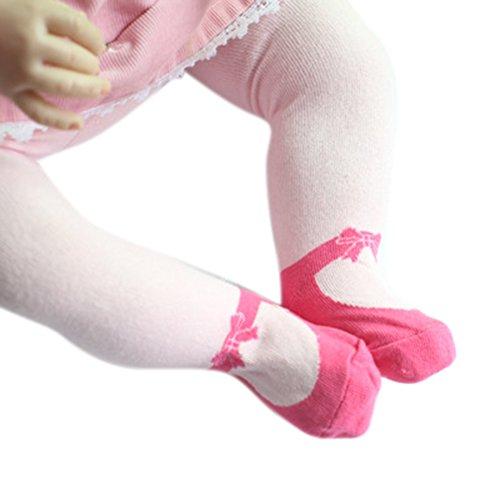 Highdas Collant stile ballerina con volant rose - antiscivolo - collezione esclusiva - da 12 a 24 mesi