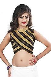 Drapme Women's Brocade Unstitched Blouse(kargb301k_Golden_Free Size)